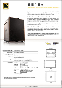 L-Acoustics SB18m Product spec sheet downloaden